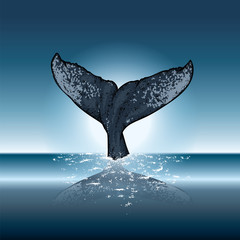 A whale diving into the water. Vector illustration for a postcard or a poster, print for clothes. Sea and ocean.