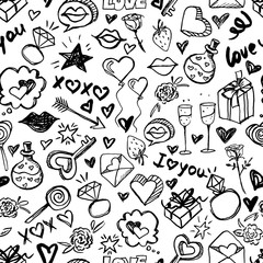 Vector doodle romantic seamless pattern. Black and white watercolor, ink hearts, love, lips, kisses, diamond rings. Design for fashion textile print, wrapping and valentines day backgrounds.