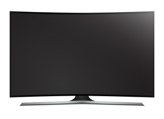 Curved tv. 4k Ultra HD screen, isolated on white background.