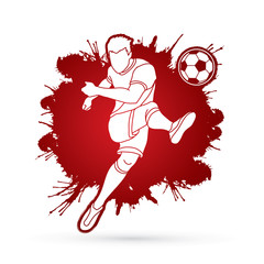 Soccer player shooting a ball action designed on splatter color background graphic vector