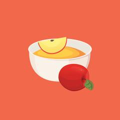 apple jam healthy breakfast. food isolated illustration