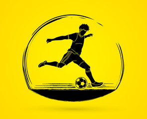 Soccer player running and kicking a ball action graphic vector