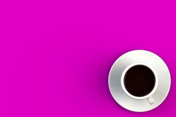 Morning coffee concept on pink background, Top view with copyspace for your text, 3D rendering