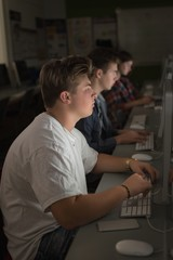 College students studying in computer classroom