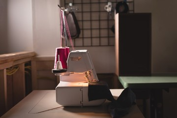Sewing machine on table