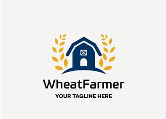 Wheat Farmer Logo Template Design Vector, Emblem, Design Concept, Creative Symbol, Icon