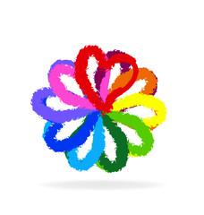Multi-colored flower head symbol illustration