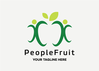 People Fruit Logo Template Design Vector, Emblem, Design Concept, Creative Symbol, Icon