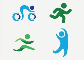 People Sport Logo Set Template Design Vector, Emblem, Design Concept, Creative Symbol, Icon