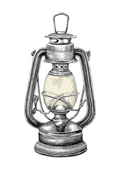 Vintage lantern hand drawing engraving style isolate on white background