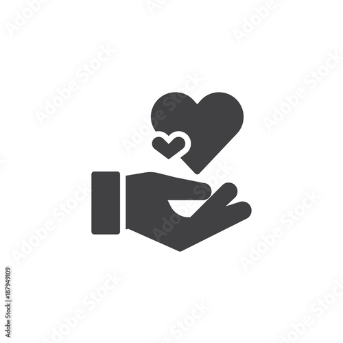 Hearts In Hand Icon Vector Filled Flat Sign Solid Pictogram
