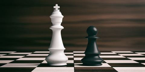 White chess king and black pawn on a chessboard. 3d illustration