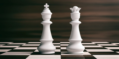 White chess king and queen on a chessboard. 3d illustration