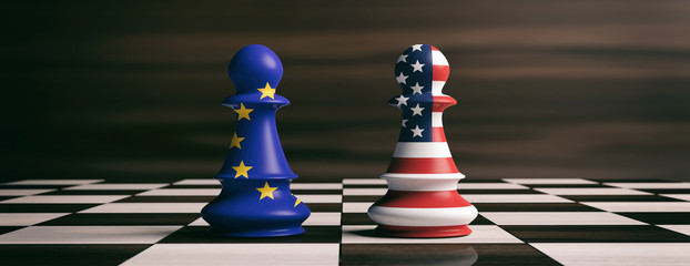 USA and European Union flags on chess pawns on a chessboard. 3d illustration