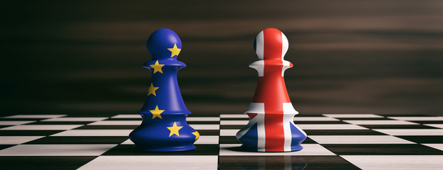 Brexit concept. United Kingdom and European Union flags on chess pawns on a chessboard. 3d illustration