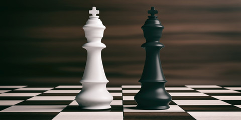White and black chess kings on a chessboard. 3d illustration