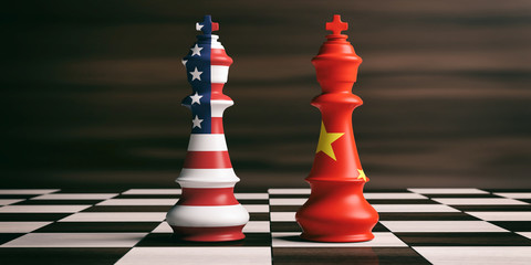 USA and China cooperation concept. USA and China flags on chess kings. 3d illustration