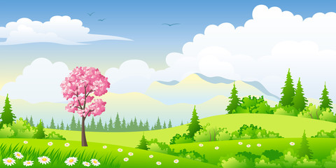 Wall Mural - Spring landscape with blossoming tree