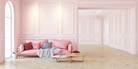 Sofa and table In classic pink interior. 3D render illustration.