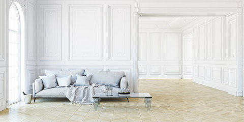 Sofa and table In classic white interior. 3D render illustration.
