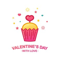 Design icon with cute cupcake. Sweet dessert with heart symbol for cafe banner or promotion happy valentine's day.  Vector