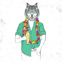 Retro Hipster animal wolf with tropic cocktail