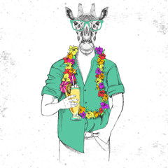 Retro Hipster animal giraffe with tropic cocktail
