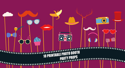 Photo booth props collection vector illustration