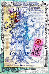 Deurstickers Imagination Manuscript background with esoteric and atrologycal draws and sketches