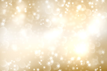 Golden abstract background with circle bokeh and shiny stars