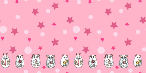 Seamless Pattern with cute animals, circles and stars