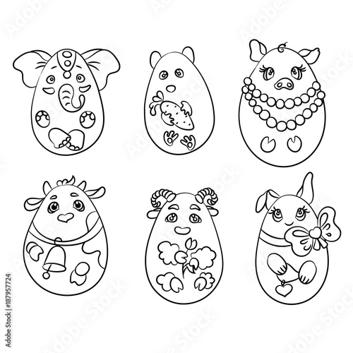 Set With 6 Animals In A Shape Of Eggs It Is Coloring Pages