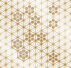 Gold Japanese pattern vector. Hexagon background with gradient texture.