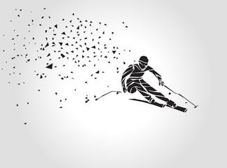 Geometric triangle Ski Racer silhouette. Vector eps8