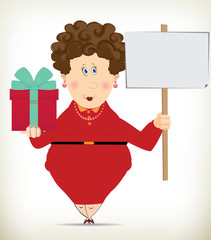 Funny Fat Lady holding a gift box and a blank placard