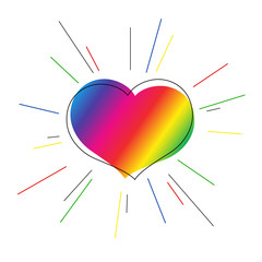 Bright heart of rainbow colors with rays Symbol of love for valentine's day Decorative element for the design of greeting cards wedding invitations posters banners template Flag of gays Drawing Vector