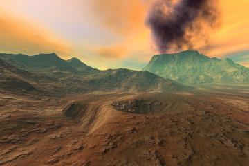 Volcano, a martian landscape, mountains, rocks and a fantastic sky.