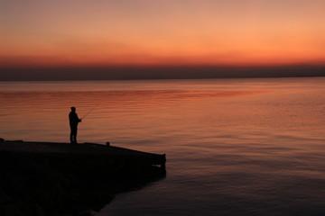 Pescatore al tramonto