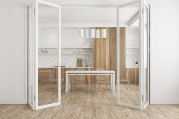 White dining room, glass door