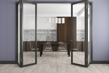 Gray dining room, glass door