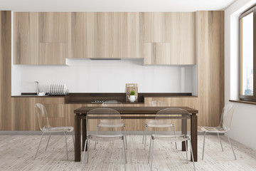 White and wooden dining room and kitchen