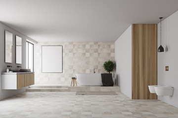 Tiled and white bathroom, poster