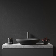 Black wall and bathroom sink