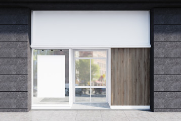 Gray and white cafe facade, poster