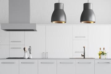Modern white kitchen interior close up
