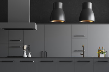Modern gray kitchen countertops