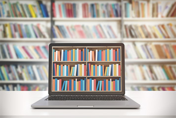 Laptop with bookshelves on screen, library