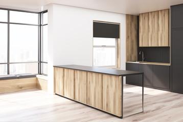 Black and wooden kitchen corner, bar