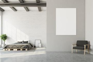 White bedroom, horizontal poster, armchair