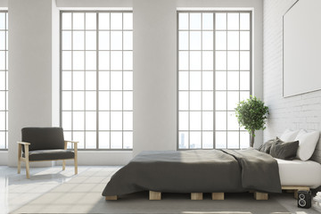 White bedroom with horizontal poster